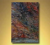 "Sliver of Reflective Rocks - Bon Echo Series -- Acrylic w/ Knives 2"" on Canvas"